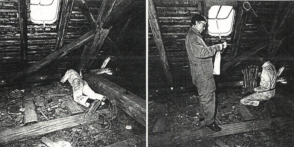 Die Bergung der Geniza aus den Auflagerhohlräumen des Dachstuhls 1988 (Foto: Architekten Bingenheimer & Hädler, Darmstadt)
